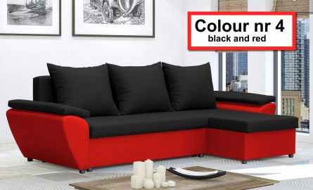 Black and Red NR 4 - Corner Sofa Bed Jacob