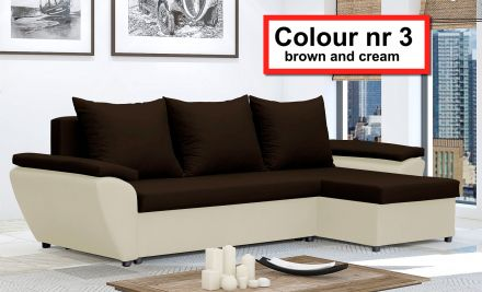 Brown and Cream NR 3 - Corner Sofa Bed Jacob