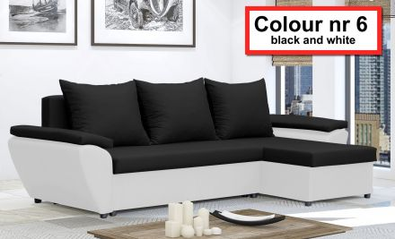 Black and White NR 6- Corner Sofa Bed Jacob