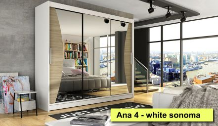 250cm Anna 4 Wardrobe with 3 mirrors