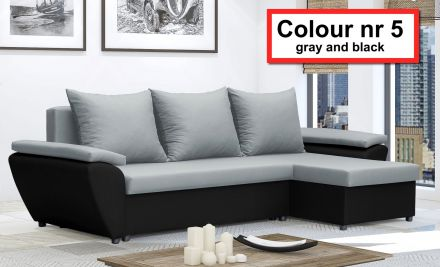 Gray and Black NR 5- Corner Sofa Bed Jacob