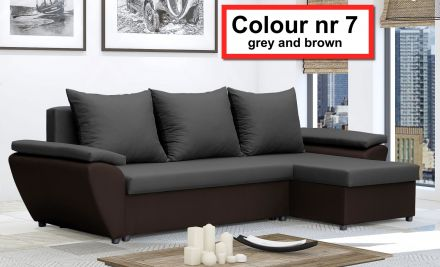 Gray and Brown NR 7- Corner Sofa Bed Jacob