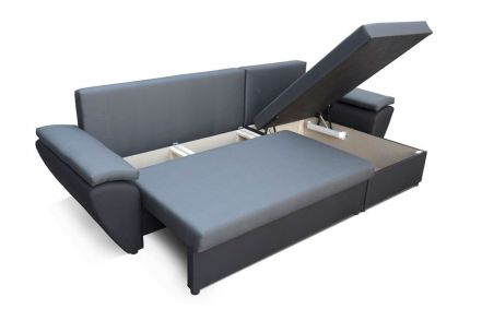 Dark Gray and Black NR 2 - Corner Sofa Bed Jacob